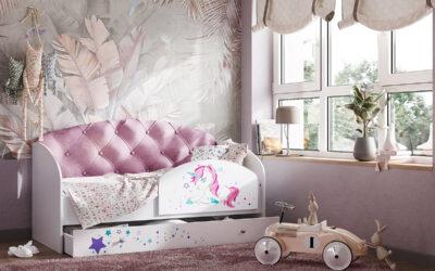 Новинка! Кровать с мягкой спинкой для девочек.